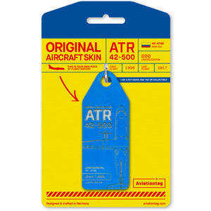 Aviationtag Satena Air ATR 42 Aircraft Skin Tag in blue colour with packaging - Aircraft Registration HK-478