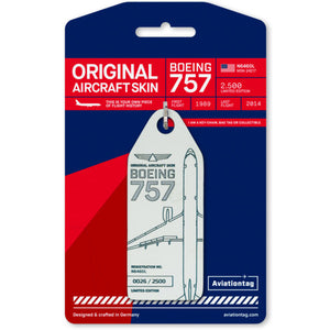 Aviationtag Delta Airlines B757 Aircraft Skin Tag in white colour with packaging - Aircraft Registration N646DL