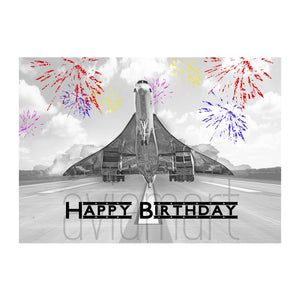 "Birthday Card ""Happy Birthday /Concorde Fireworks Day"" - A6 