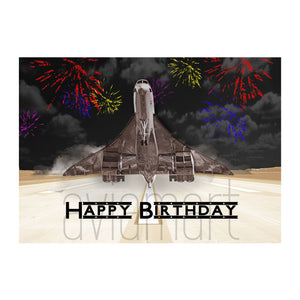 "Birthday Card ""Happy Birthday /Concorde Fireworks Night"" - A6"