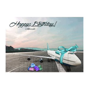"Birthday Card ""Happy Birthday / Boeing 747 Ribbon "" - A6"