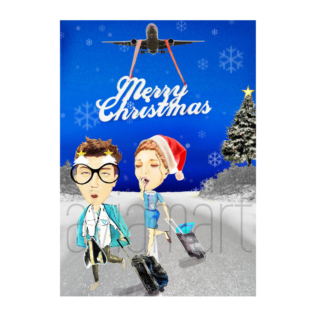 Christmas Card - Merry Christmas - Airline Crew - A6 | Aviamart