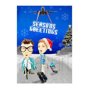 Christmas Card - Seasons' Greetings - Airline Crew - A6 - aviamart