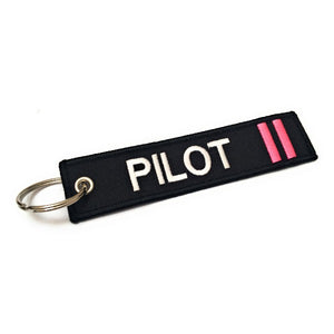 Pilot Keychain | Luggage Tag | 2 Pink Stripes