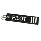 Pilot Keychain | Luggage Tag | 3 Silver Stripes - aviamart