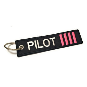 Pilot Keychain | Luggage Tag | 4 Pink Stripes