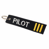 Pilot Keychain | Luggage Tag | 3 Gold Stripes | Aviamart