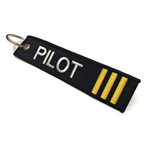 Pilot Keychain | Luggage Tag | 3 Gold Stripes