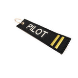 Pilot Keychain | Luggage Tag | 2 Gold Stripes | Aviamart