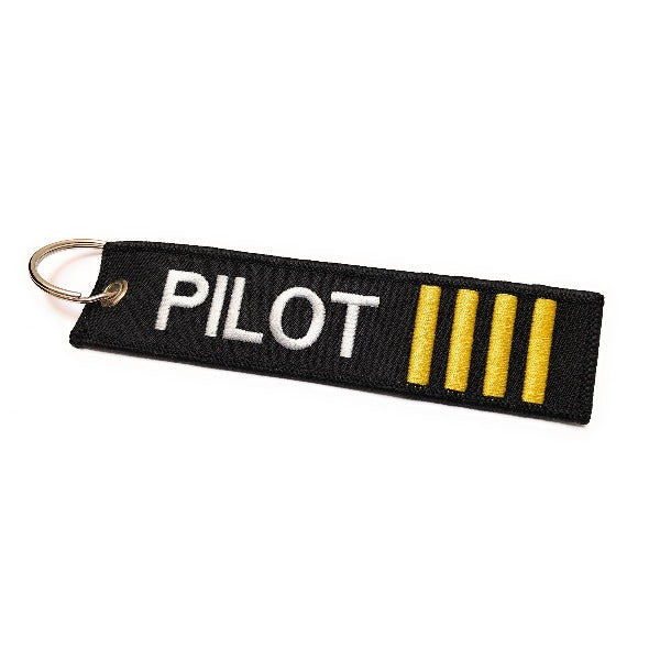 Pilot Keychain | Luggage Tag | 4 Gold Stripes