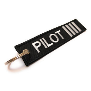 Pilot Keychain | Luggage Tag | 4 Silver Stripes | Aviamart