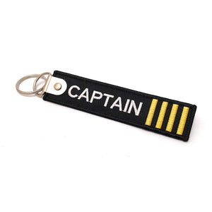 Premium Embroidered Captain Luggage Tag - 4 Gold Stripes - aviamart