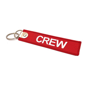 Premium Embroidered Crew Luggage Tag - Red / White | Aviamart