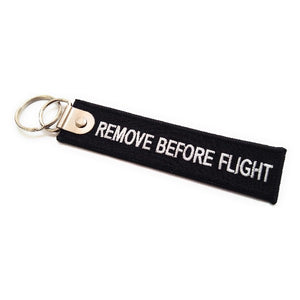 Premium Remove Before Flight Keychain | Luggage Tag | Black / White | Aviamart