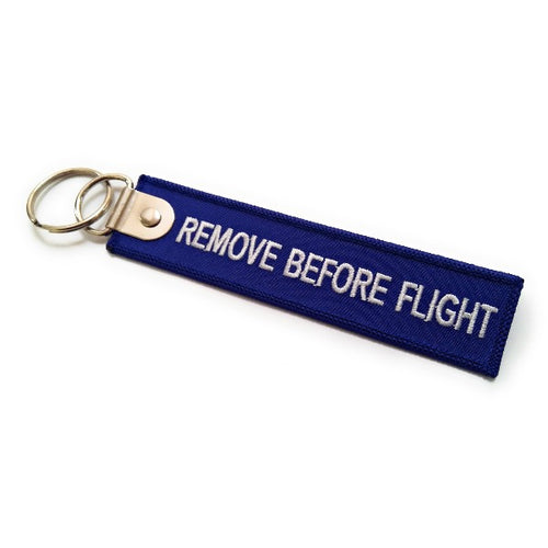 Premium Remove Before Flight Keychain | Luggage Tag | Navy / White