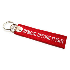 Premium Remove Before Flight Keychain | Luggage Tag | Red / White | Aviamart