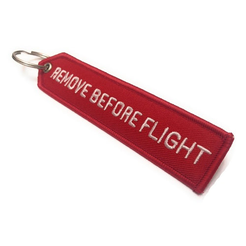 Remove Before Flight Arrow Keychain | Luggage Tag | Red / White