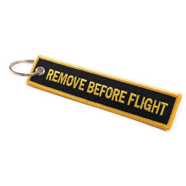Remove Before Flight Keychain | Luggage Tag | Black / Yellow | Aviamart