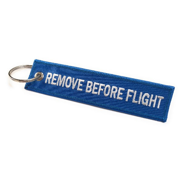 Remove Before Flight Keychain | Luggage Tag | Blue / White