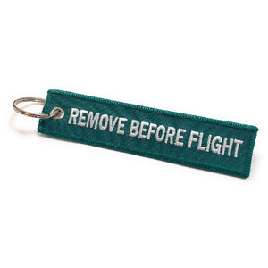 Remove Before Flight Keychain | Luggage Tag | Green / White