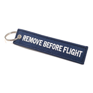 Remove Before Flight Keychain | Luggage Tag | Navy / White