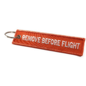 Remove Before Flight Keychain | Luggage Tag | Orange / White