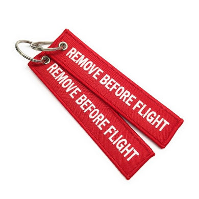 Remove Before Flight Keychain | Luggage Tag | Red / White | Set of 2 | Aviamart