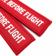 Remove Before Flight Keychain | Luggage Tag | Red / White | Set of 2