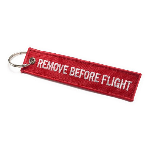 Remove Before Flight Keychain | Luggage Tag | Red / White