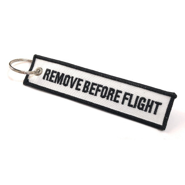 Remove Before Flight Keychain | Luggage Tag | White / Black