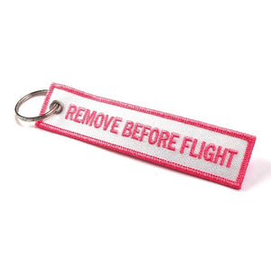 Remove Before Flight Keychain | Luggage Tag | White / Funky Pink