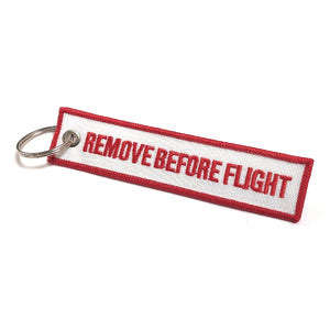 Remove Before Flight Keychain | Luggage Tag | White / Red