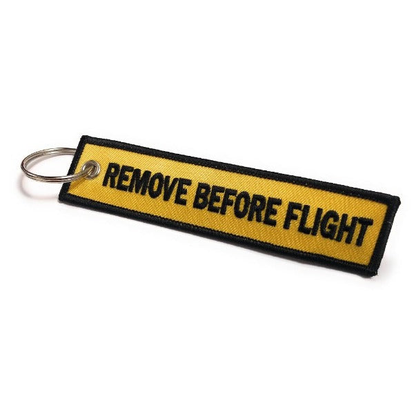Remove Before Flight Keychain | Luggage Tag | Yellow / Black