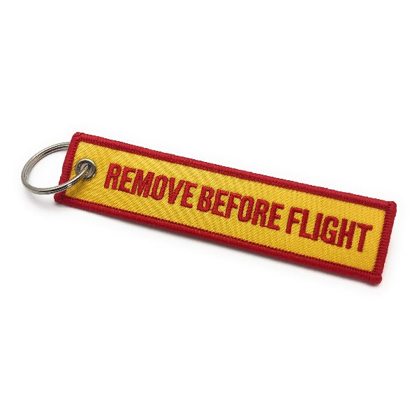 Remove Before Flight Keychain | Luggage Tag | Yellow / Red | Aviamart