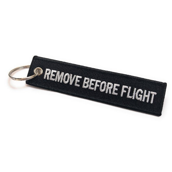 Remove Before Flight Keychain | Luggage Tag | Black / White