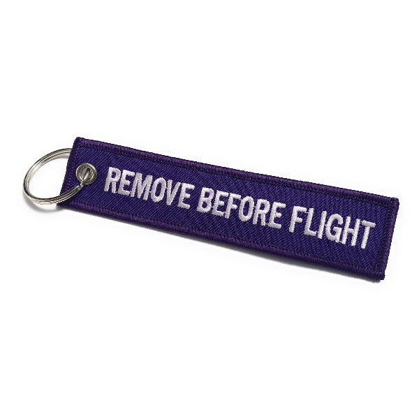 Remove Before Flight Keychain | Luggage Tag | Purple / White