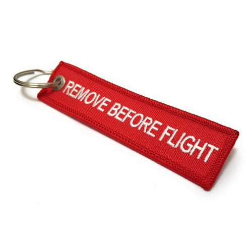 Remove Before Flight MINI Keychain | Luggage Tag | Red / White