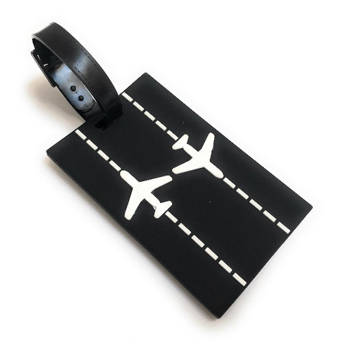 Runway Planes 2D Soft PVC Luggage Tag |  Black / White | aviamart®