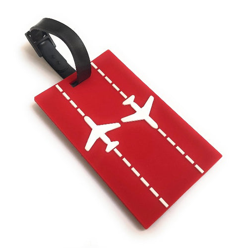 Runway Planes 2D Soft PVC Luggage Tag |  Red / White | aviamart®