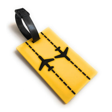 Runway Planes 2D Soft PVC Luggage Tag | Yellow / Black | aviamart® | Aviamart