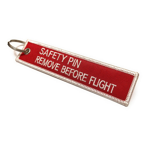 Safety Pin / Remove Before Flight Keychain | Red / White
