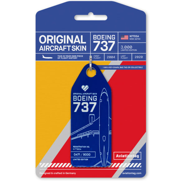 Aviationtag Southwest Airlines B737 Aircraft Skin Tag in blue colour with packaging - Aircraft Registration N7705A