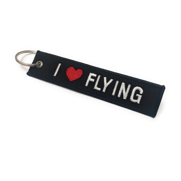 I Love Flying Embroidered Keychain | Luggage Tag | Black / White