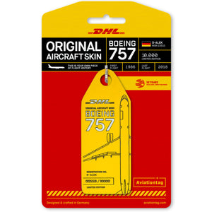 Aviationtag DHL B757 Aircraft Skin Tag in yellow colour with packaging - Aircraft Registration D-ALEK