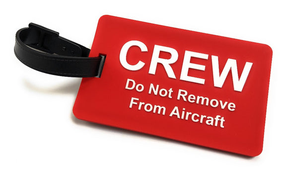 Crew / Do Not Remove From Aircraft 2D Soft PVC Luggage Tag |  Red/White | aviamart® | Aviamart