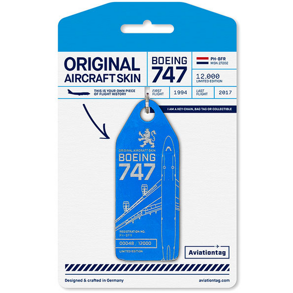Aviationtag KLM B747 Aircraft Skin Tag in blue colour with packaging - Aircraft Registration PH-BFR