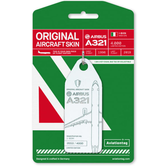 Aviationtag Alitalia Airlines A321 Aircraft Skin Tag in white colour with packaging - Aircraft Registration I-BIXN