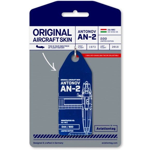 Aviationtag Aero Cluba Antonov AN-2R Aircraft Skin Tag in blue colour with packaging - Aircraft Registration HA-MKI