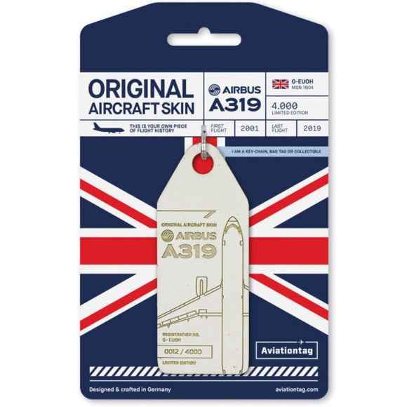 Aviationtag British Airways A319 Aircraft Skin Tag in white colour with packaging - Aircraft Registration G-EUOH