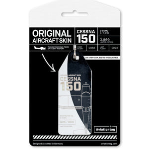 Aviationtag Cessna 150 Aircraft Skin Tag in black and white colour with packaging - Aircraft Registration D-EOMO